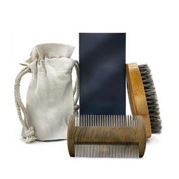 FQ marque barbe peigne et brosse de marque privée en bois barbe brosse et peigne ensemble pour les hommes