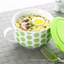 soup bowl with silicone lid and handle