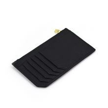 Slim Leather Wallet Metal Zipper Credit Card Holder
