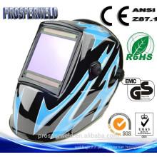 CE EN379 Aprovado Máscara patenteada da soldadura do projeto, 4 Sensores Capacete escurecendo solar solar da soldadura com decalques