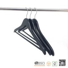 Pantalón negro barra antideslizante hombro ganchos de madera para el paño