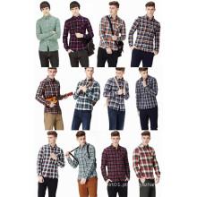 Moda 100% algodão tecido camisa dos homens com impressão xadrez