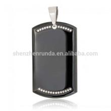 Vente en gros Verre Customized Blank Black Plating Pendentif en acier inoxydable Tag Dog Tag Pendentif Pendentif Collier Bijoux