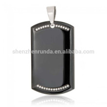 Wholesale Summer Customized Blank Black Plating Pendant Stainless Steel Dog Tag Rhinestone Pendant Necklace Jewelry