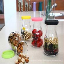 Milk Glass Bottle Juice Bottle Storage Food Jar with Decal