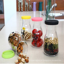Garrafa de vidro de leite garrafa de suco garrafa de comida de armazenamento com decalque