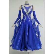 Blue ballroom gowns with sleeves