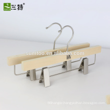 wood laminated pants hanger with pearl nickel hook and clips