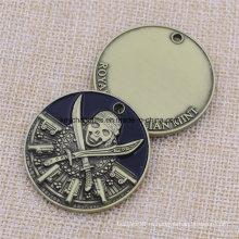 Сувенир с металлической черепной эмалью с тисненой монеткой