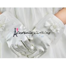 Elegante rebordear multi-estilo guantes cortos para las niñas de flores guantes de la boda