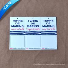 Étiquette faite sur commande de vêtements d'étiquette de coup de papier
