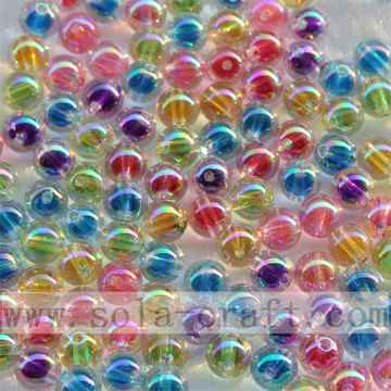 Korean Style Rainbow Color Round AB Bead in Beads