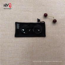 Microfibre noire avec poche à cordon de serrage personnalisée pour lunettes