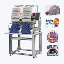 Machine à broder compacte Elucky à deux têtes pour broderie à plat avec haute performance