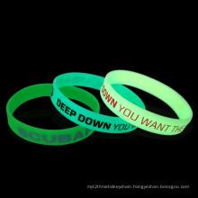 Wholesale Custom Fluorescent Glowing Reflective Silicone Bracelet Wristband