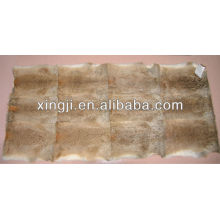 Natural brown color hare rabbit fur throw