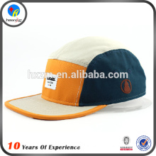 adjustable 100%cotton embroiery flat leather square brim flat top snapback hat&cap