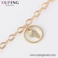 73758 Xuping gros bijoux fantaisie en cuivre charme multicolor cheville en or pour les filles