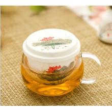 Copo de chá de vidro de borosilicato alto com infusão de cerâmica