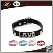 Wholesale Colorful PU Plain Leather Pet Collar (HJ7005)
