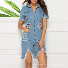 Wholesale Women Clothing 2020 Fashion Denim Jumpsuit Washed Jeans Sexy Blue Jumpsuit