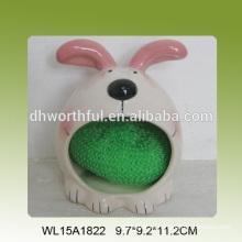 Cute conejo en forma de titular de esponja de cerámica en 2016 más nuevo estilo