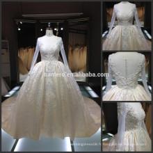 Dentelle fête de soirée robe de mariée mariage mâle réelle manches longues profonde col en V train cathédrale robe de mariée royale 2016