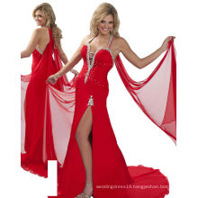 Red Halter Pageant Dress Party Dress with Sash & Rhinestones RO11-08