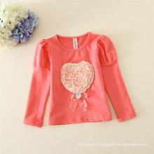des chemises de 90-130cm pour des filles, des maillots de printemps / d'hiver pour des enfants de 2-6years, des maillots de corps avec des prix bas pour des enfants