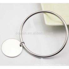 Simples Trendy fechado aço inoxidável pulseira círculo de prata com pingente em branco redondo