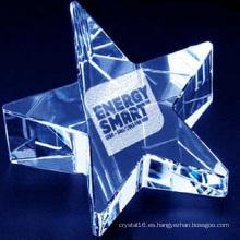 Pisapapeles de cristal de la forma de la estrella K9 para la decoración de la oficina