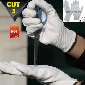 Luvas de segurança NMSAFETY White PU resistente ao corte