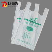 100% Biodegradável Supermarket T-shirt Carry Bags