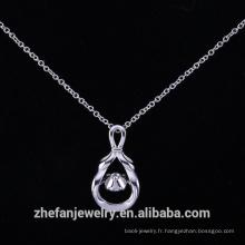 Gravure en argent sterling pendentif dansant pierre argentée