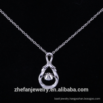 Engraving sterling silver pendant dancing stone silver plated
