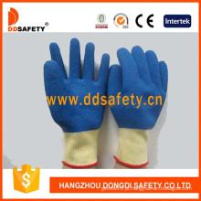 Luva de revestimento de látex azul shell amarelo t / c (dkl600)