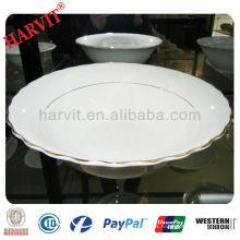 Tazón de ensalada de plata de cerámica