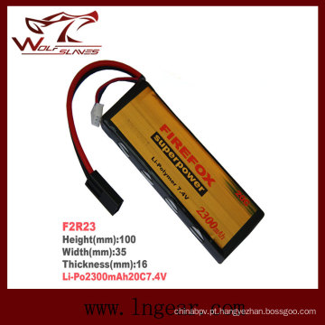 Alta capacidade Firefox-2300mAh 7.4 v 20C Li-Po bateria Li-polímero