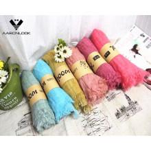 Atacado cor sólida primavera verão verificado cachecol de lã fina