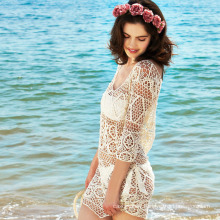 Europe crochet hollow out style beach dress bikini cover up 2017