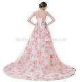 2017 Dernière Conception Magnifique Fleur Imprimé Rose Mousseline Puffy Longue Queue Robe De Bal Alibaba Robe De Mariée