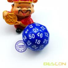 Bescon Multi-sides Dice Polyhedral Dice 50-sided Gaming Dice, D50 dice, D50 dice, 50 Sides Die, 50 Sided Cube of Blue Color