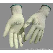NMSAFETY 13g forro HPPE 3/4 revestido à base de água pu luva de trabalho anti corte