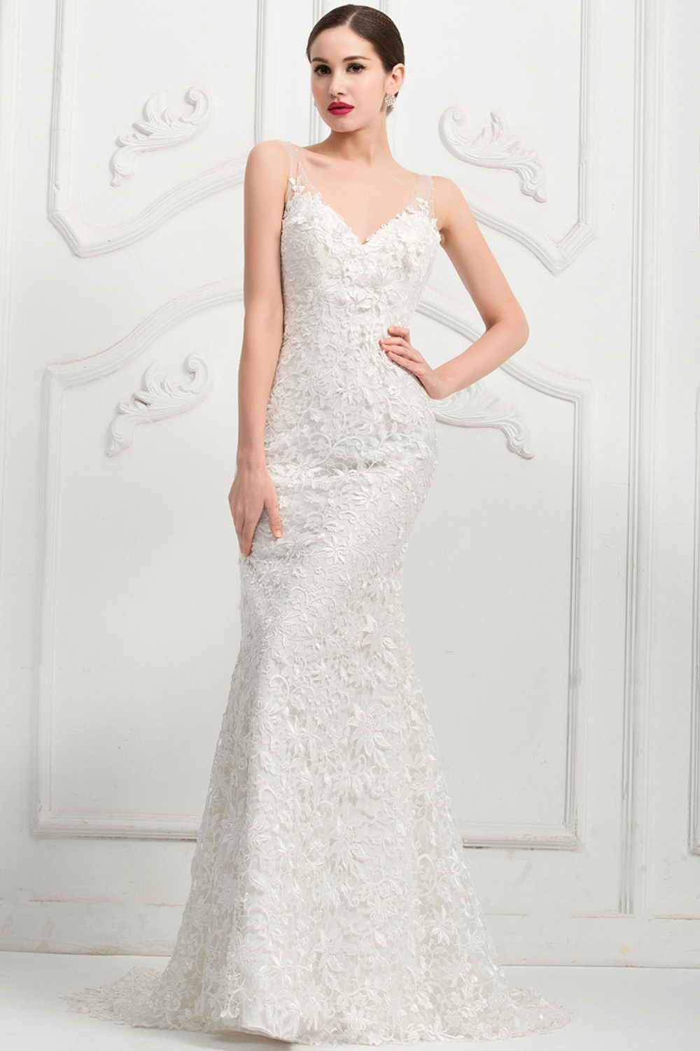 sheath-column-sweep-train-v-neck-tulle-wedding-dress-with-lace