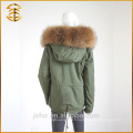 Vente directe en usine Taille adulte Lady Raccoon Fur Hooded Parka