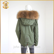 Venda Directa de fábrica Adulto Tamanho Lady Raccoon Fur Hooded Parka
