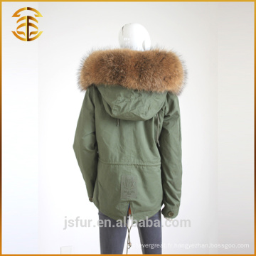 Vente directe en usine Taille adulte Lady Raccoon Fur Hooded Parka
