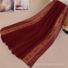 Популярные мода горный хрусталь хиджаб чистый Цвет мусульманский хиджаб шифон пузырь камень горный хрусталь мусульманин хиджаб с камнем для женщин