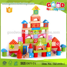 Good Quality 100pcs Colorful Printing Wooden Building Blocks