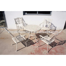 White reseau dinning table and chairs aluminum outdoor furniture